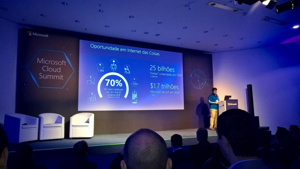 'Serão mais de 20 bilhões de 'coisas' conectadas em 2020.' Palestra com Felipe Andrade no #MSCloudSummit #IoT #cloud