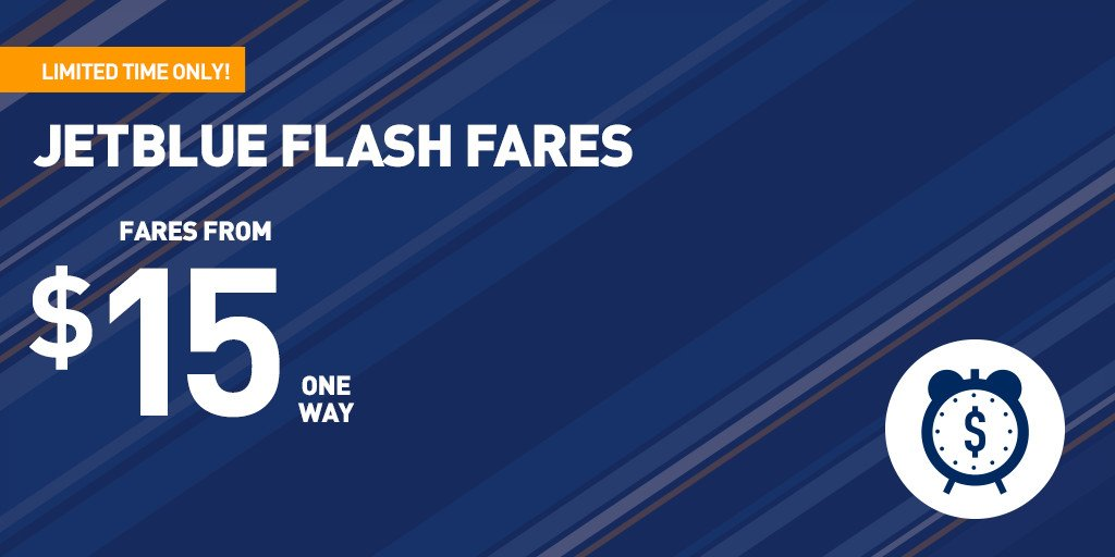 ✏ Pencil us in for…RIGHT NOW! It's time to book super-low #JetBlueFlashFares! +Restr https://t.co/qCZgJslNu8 https://t.co/rTnc0OqoiP