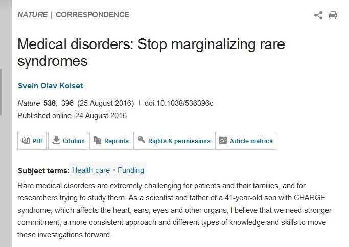 Medical disorders: Stop marginalizing rare syndromes : Nature : Nature Research