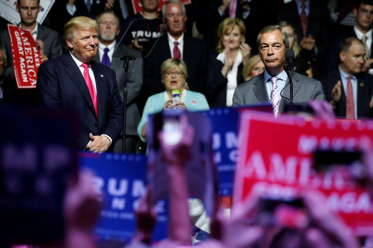 BIGOTS OF THE WORLD, UNITE: Here's when Nigel Farage popped up at a Trump rally