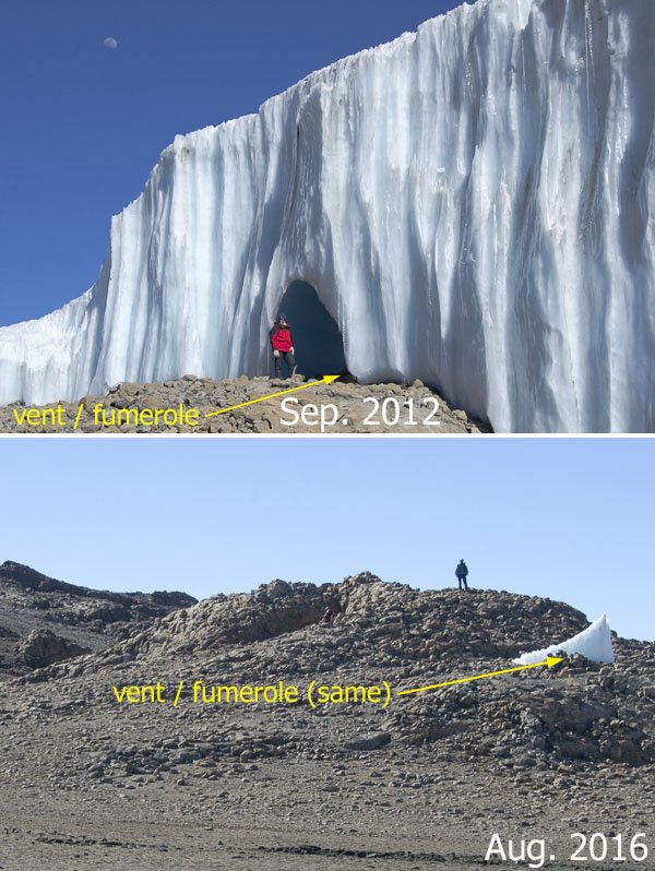 10.08.2016 - Doug Hardy‏@snozone Furtwängler Glacier on Kilimanjaro is going fast - geothermal heat flux aiding ablation.