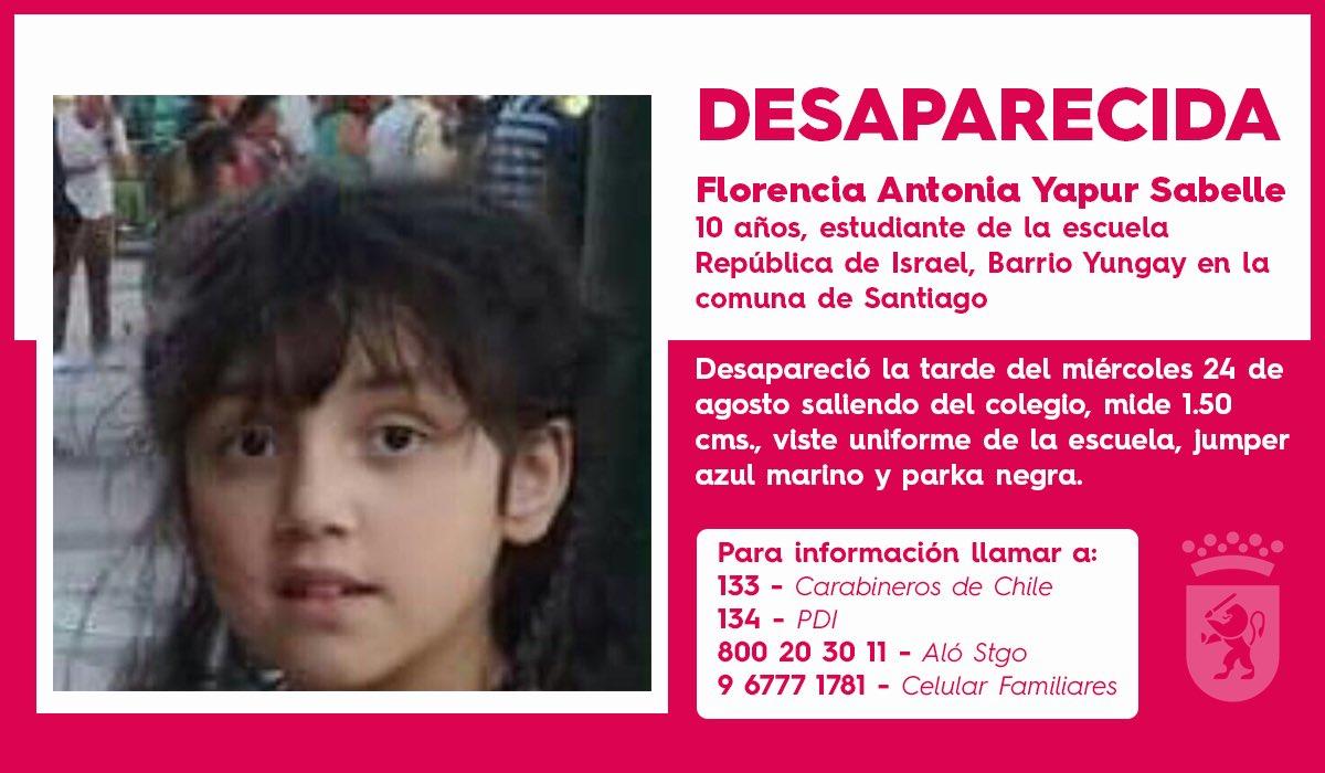 RT @Muni_Stgo ¡Atención vecinos! Pedimos tu apoyo con cualquier información que nos ayude a encontrar a Florencia. Favor RT❗️