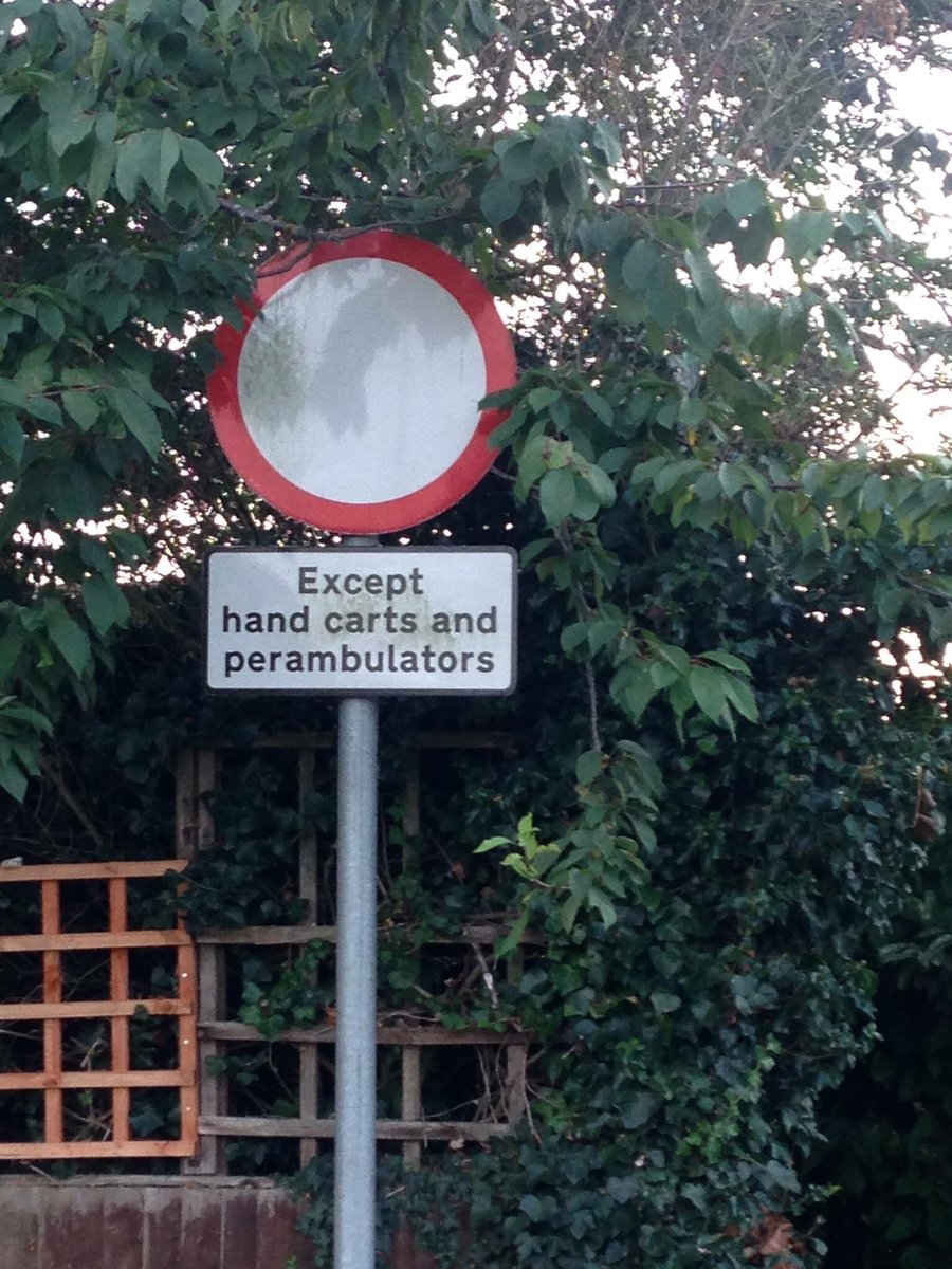 A sign for @RantyHighwayman No vehicles except hand carts and perambulators, spotted by a friend in Eastbourne.