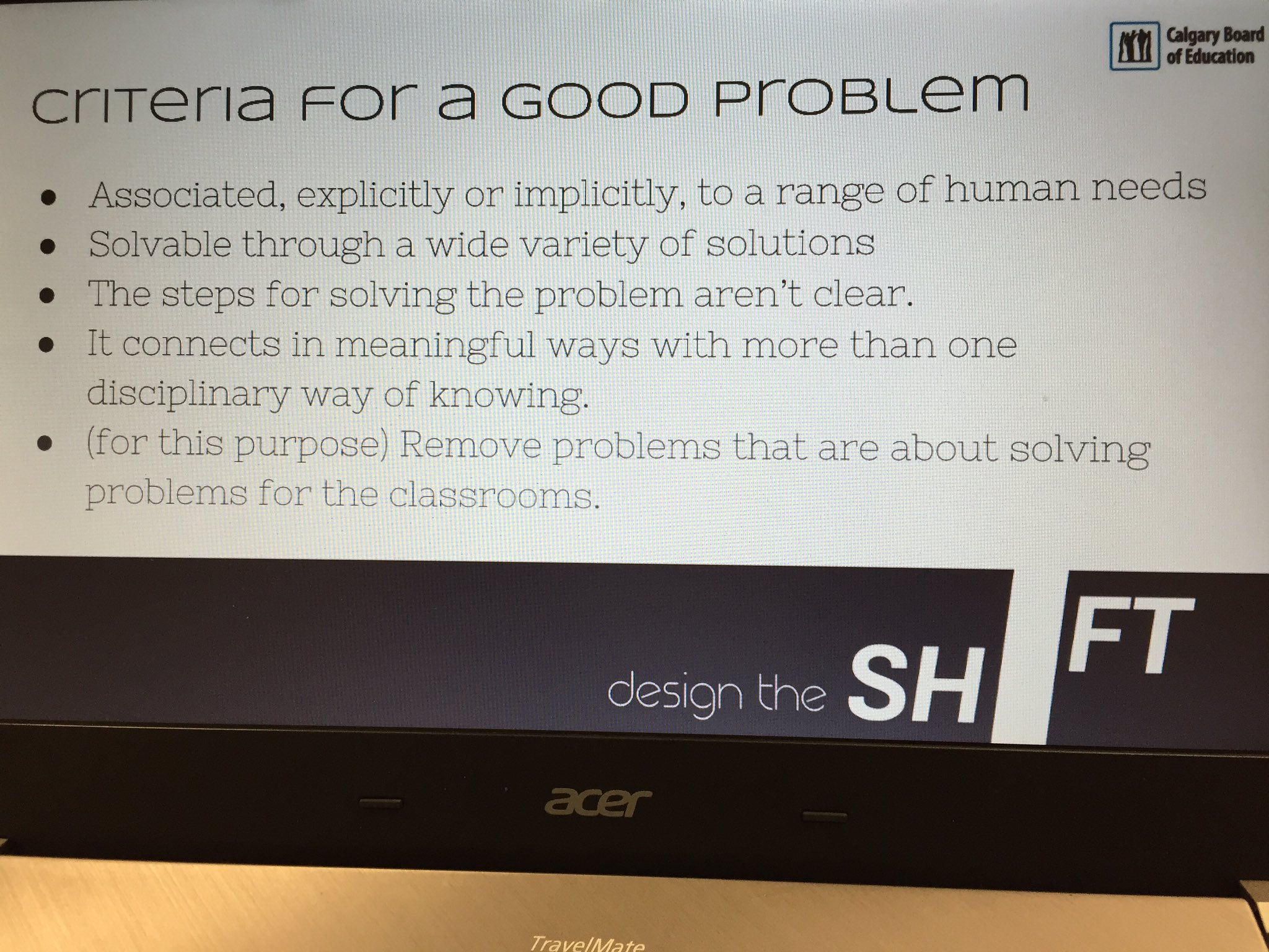 Here's our criteria for a good problem.  #cbeshift https://t.co/IQ5y4AH6bz