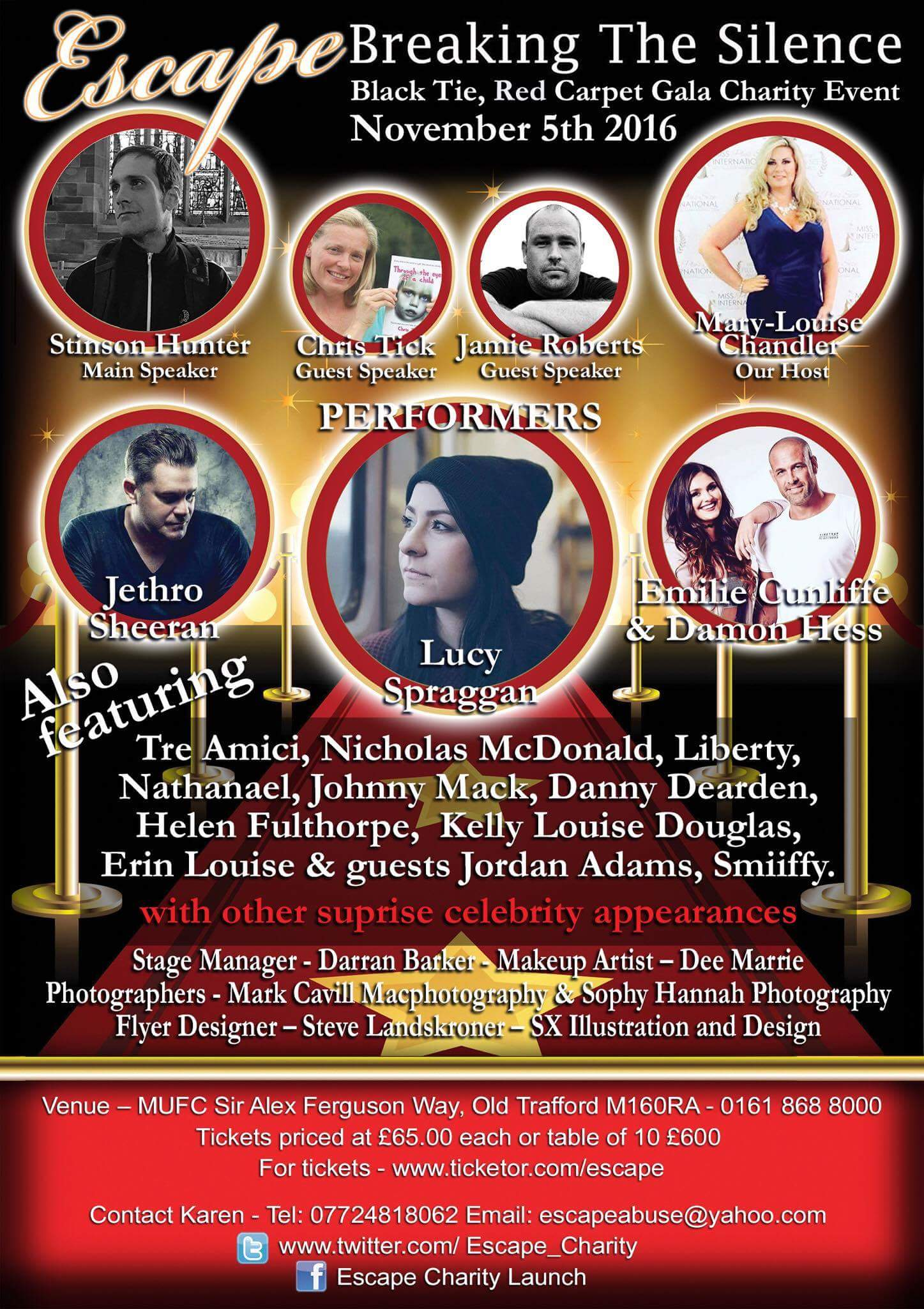 RT @Escape_Charity: Tkts will not be on the door.get them now to avoid disappointment #BREAKINGTHESILENCE @Damon_Hess @EmilieCunliffe https…