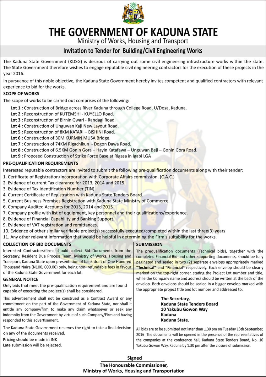 Exceptionnel #KadunaOpportunities Contractors Are Invited To Tender For Construction Of  Bridge Across River Kadunapic.twitter.com/pb7ykTS81D