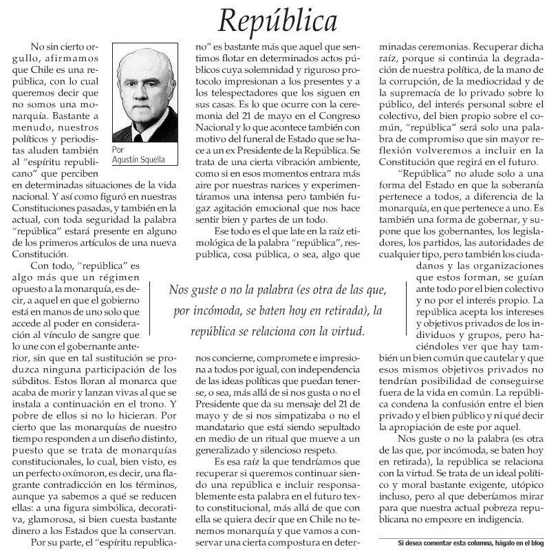 Don (así con mayúscula) Agustín Squella nos alecciona sobre la República (así con mayúscula también) https://t.co/SAQe7fcwVf