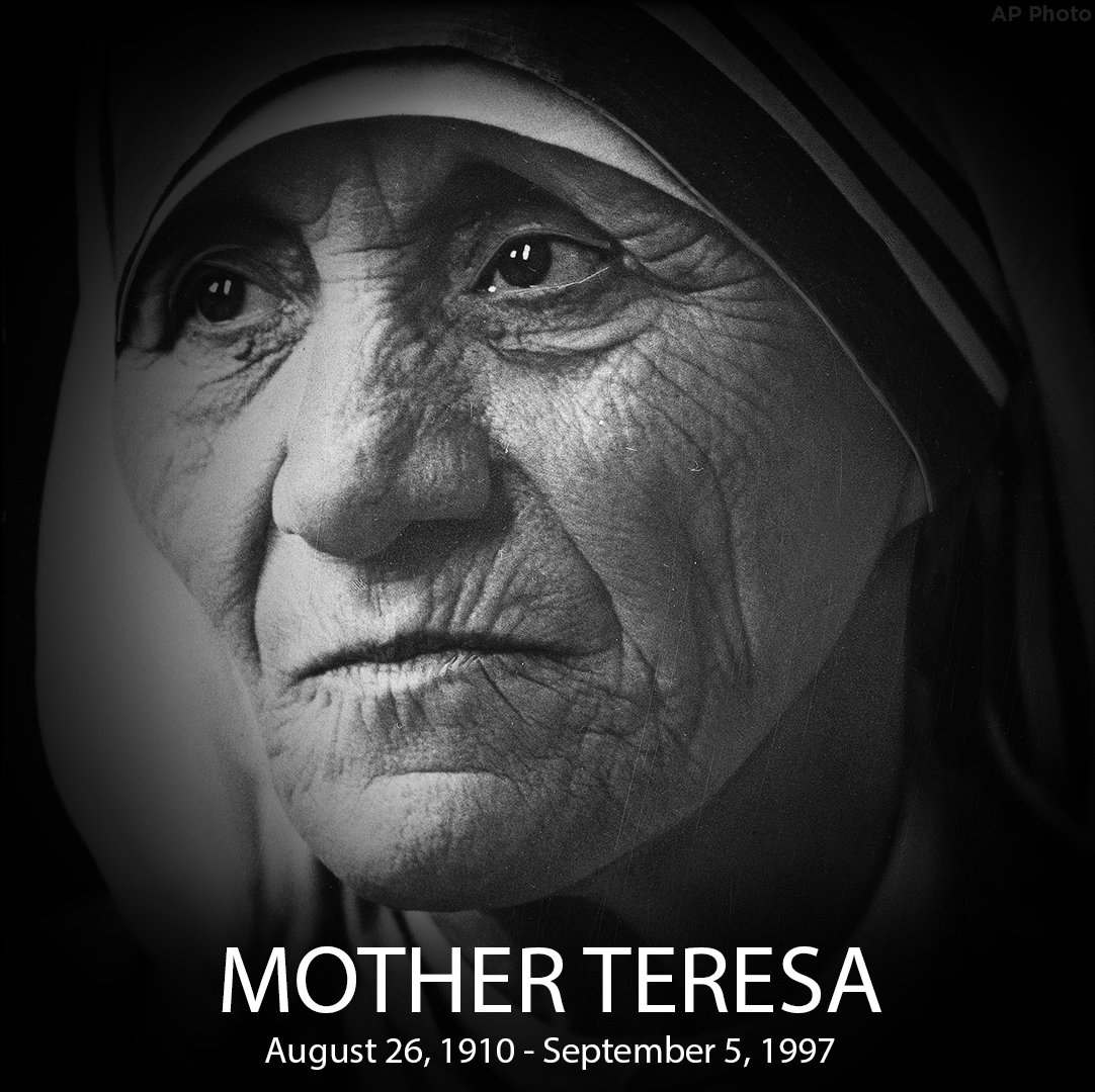 """""""Peace begins with a smile.."""" - Mother Teresa, who was born on this date in 1910."""