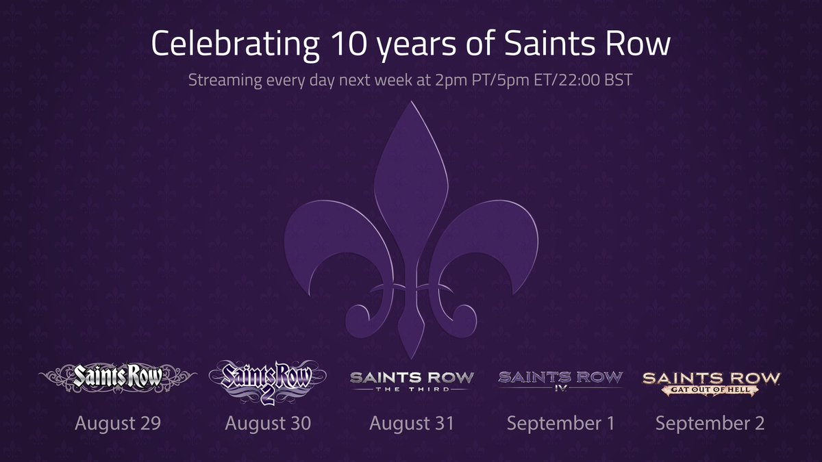 Join us every day next week to celebrate the 10th Anniversary of Saints Row! https://t.co/bqKIW8DqBK #SR10th https://t.co/5TvA2XJIaq