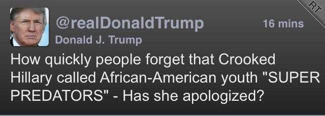 How's your apology coming, @realDonaldTrump, to the Central Park Five, you stinking piece of human garbage? #Racist