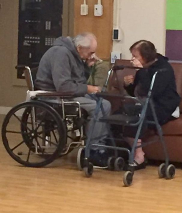 Couple married for 62 years photographed crying after being moved to separate nursing homes.