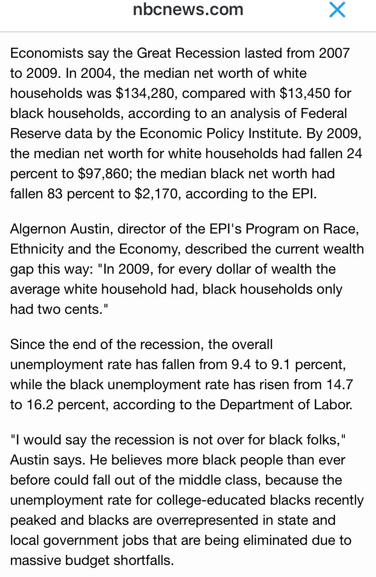They don't want you to know the root cause is GOP malfeasance, not Black failure. http://www.nbcnews.com/id/43645168/ns/business-eye_on_the_economy/t/blacks-economic-gains-wiped-out-downturn/#.UCm-30S18Zy…