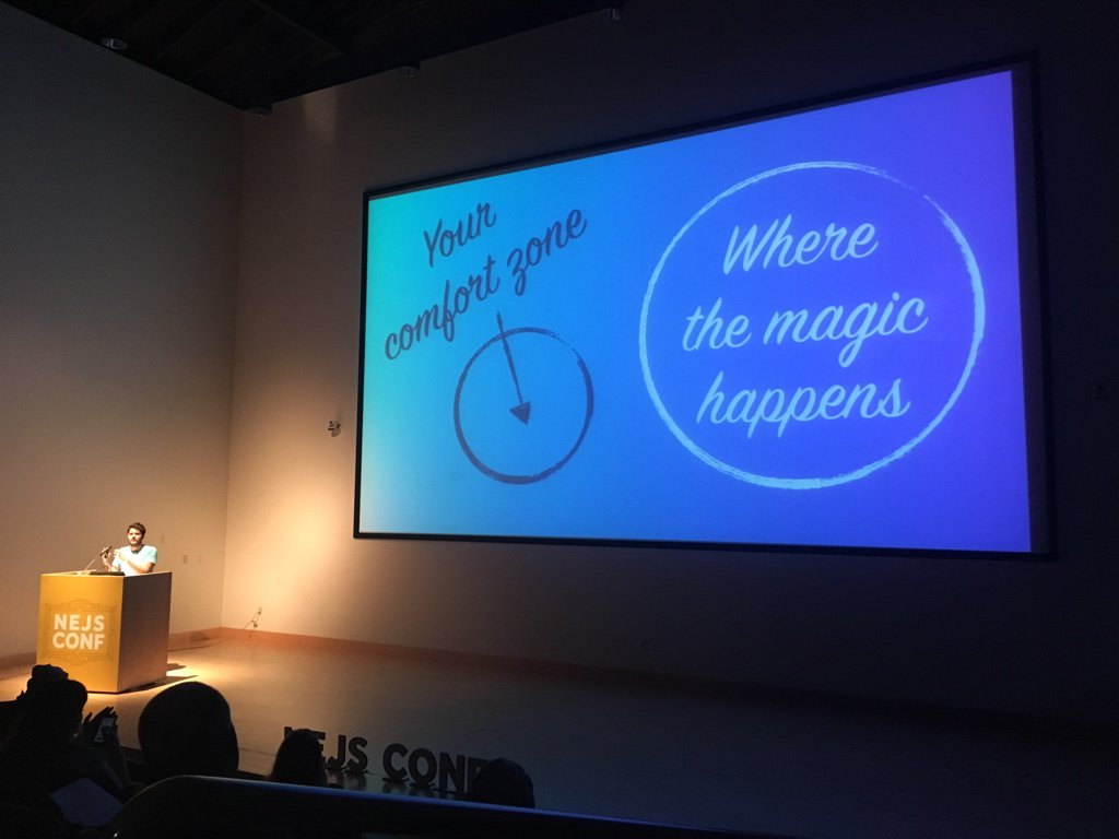 Great advice from @zenorocha: get out of your comfort zone to access the magic of web APIs #NEJSConf https://t.co/44kf8dF2NK