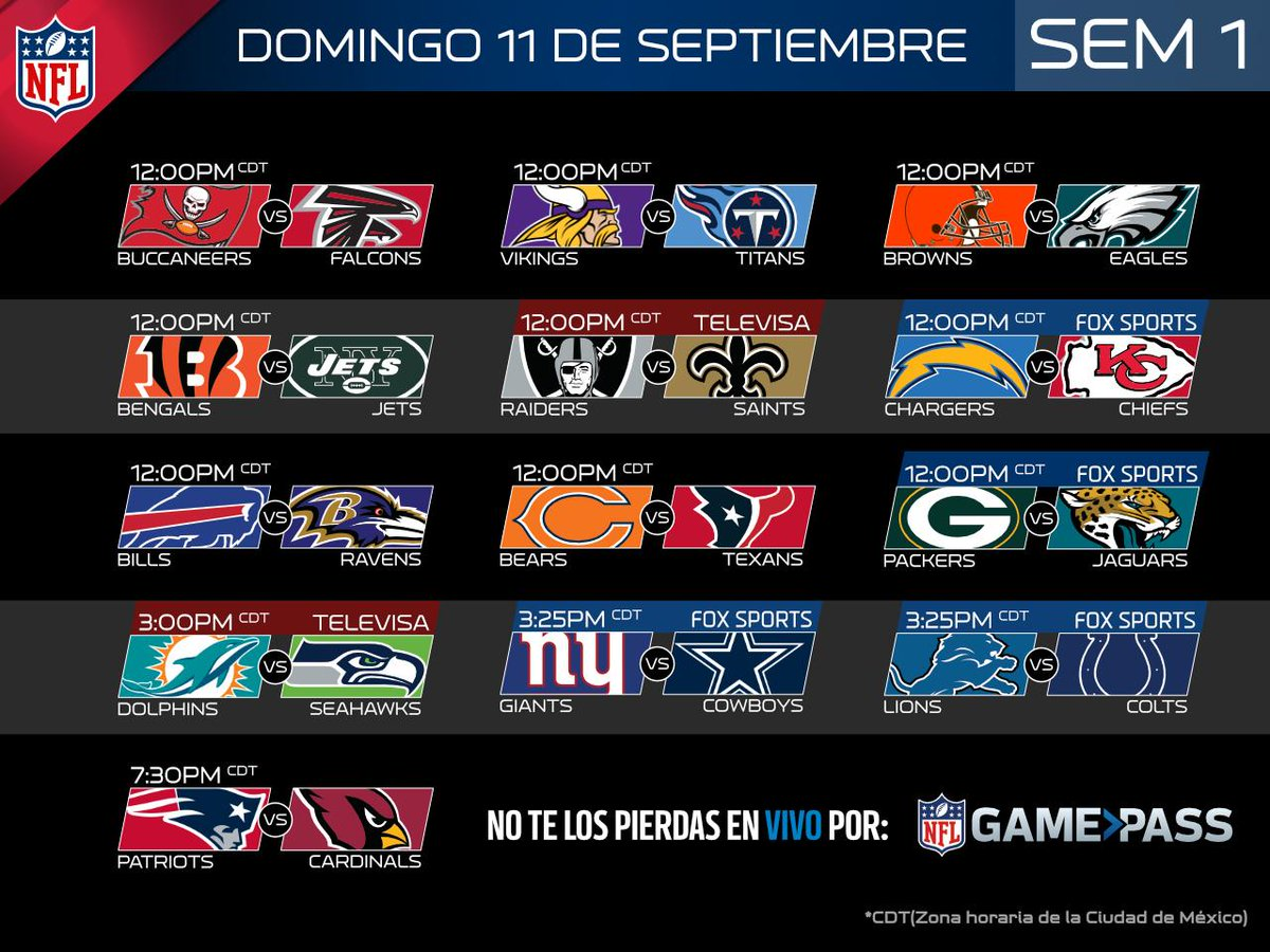 Nfl Mexico On Twitter Calendario De Juegos Televisados En Mexico