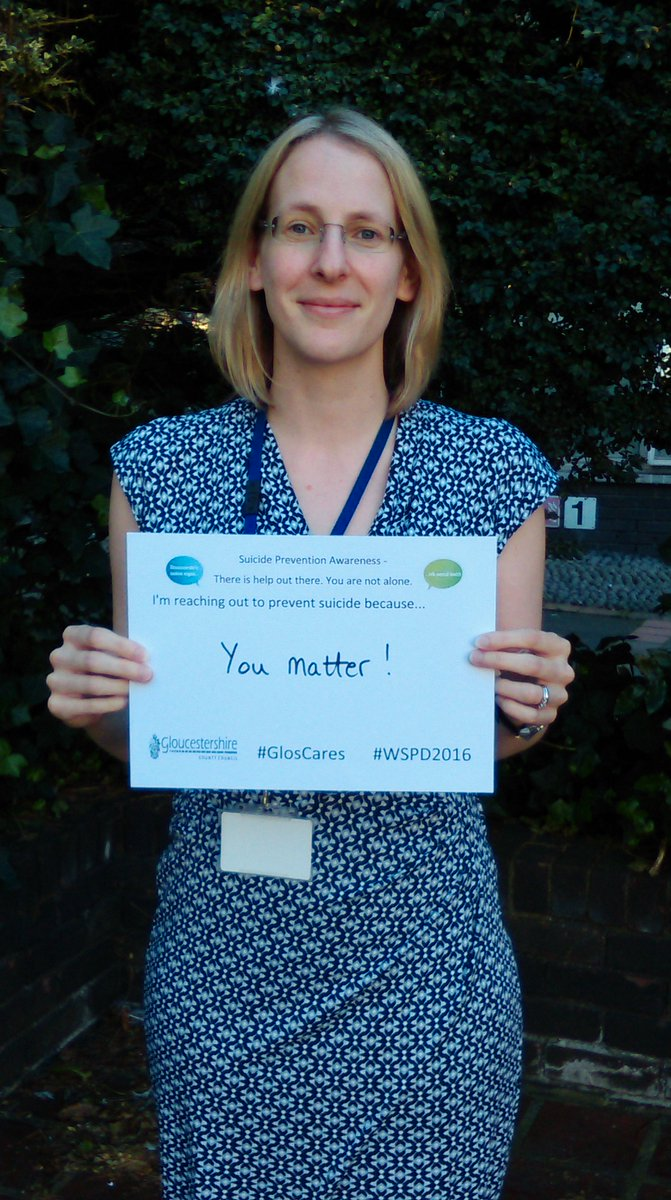 Jennifer Taylor, chair of the Gloucestershire Suicide Prevention Partnership Forum starts #WSPD2016 #GlosCares https://t.co/W2lLRPMbGJ