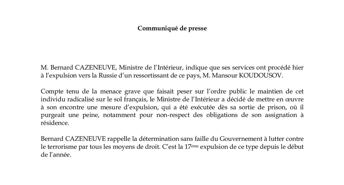 Minist re de l 39 int rieur on twitter communiqu for Ministere exterieur algerie