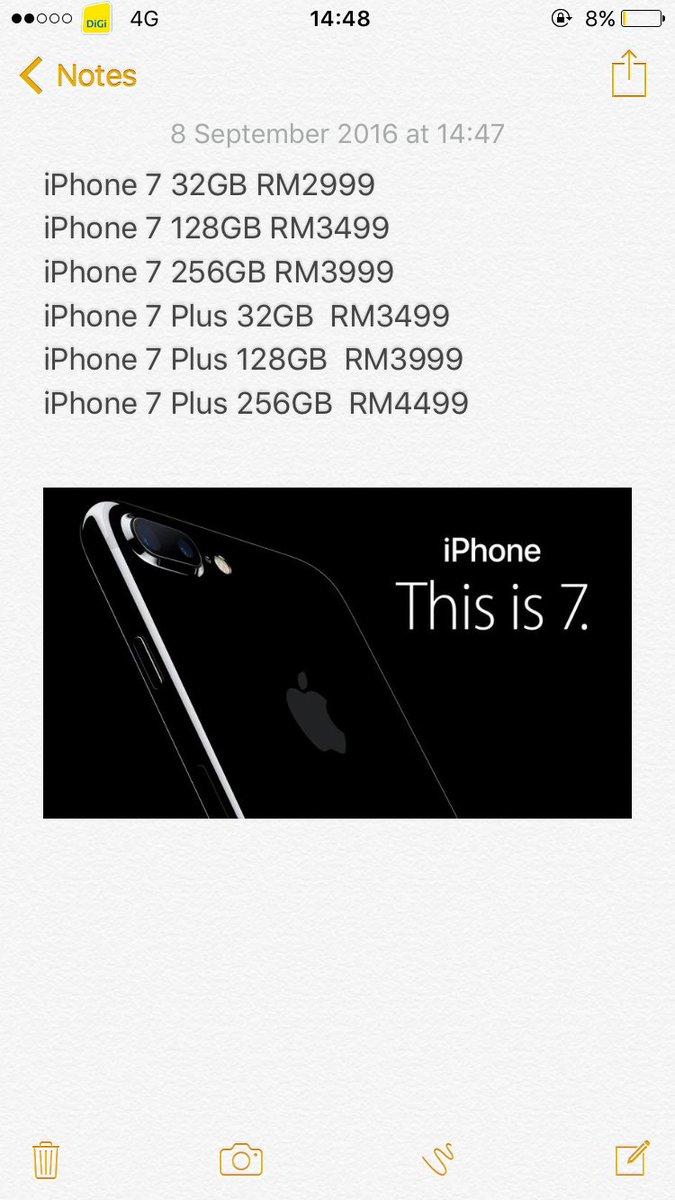 Iphone Malaysia On Twitter Senarai Lengkap Jangkaan Harga Iphone 7