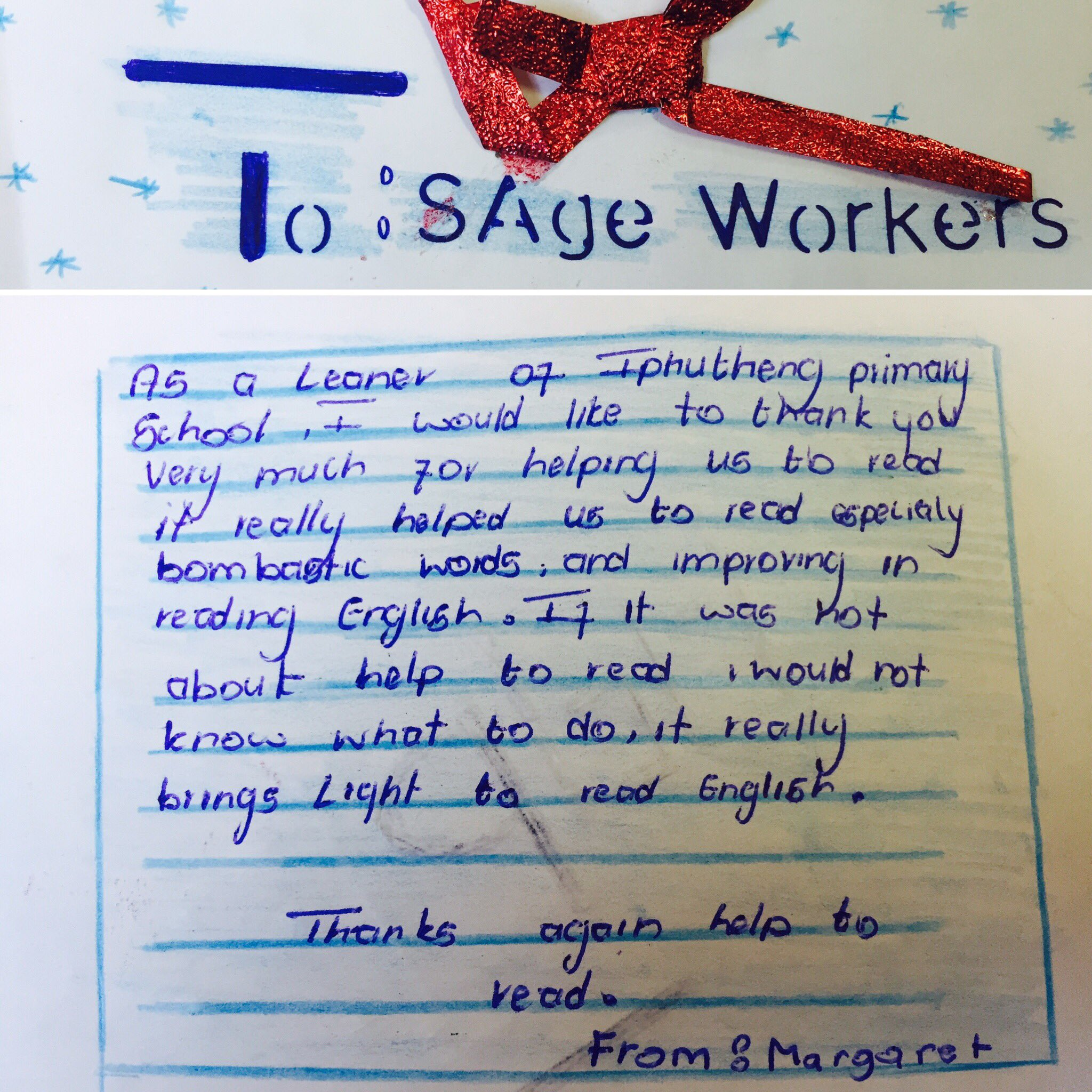 Thank you letter from a learner at Iphutheng Primary #SageFoundation Literacy Project @SageGroupZA #bombasticwords❤️ https://t.co/fd1xq3SVF5