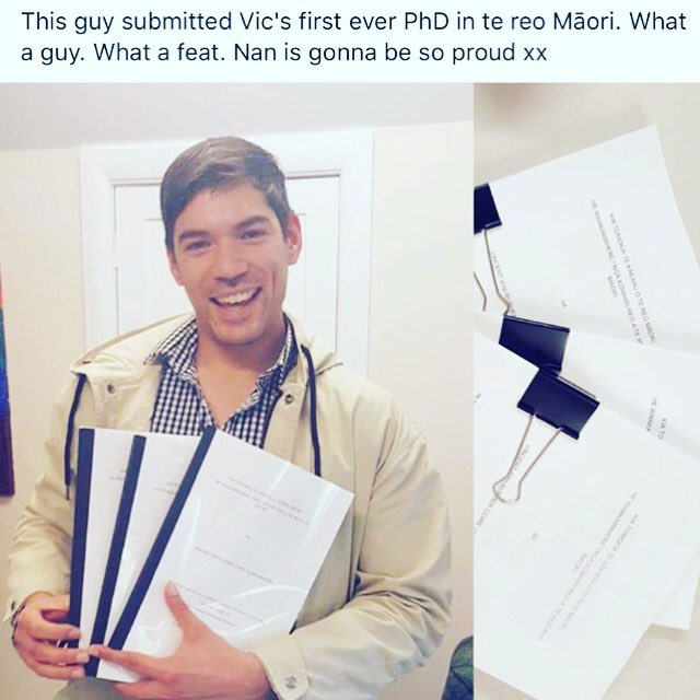 How about my awesome cousin, submitting Victoria University's 1st PhD in Māori!... https://t.co/8wtTk3FEJI