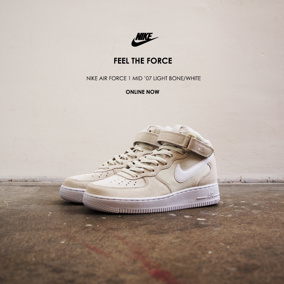 buty nike air force 1 mid 07 light bone