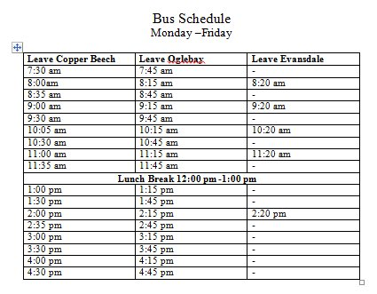 copper beech wvu on twitter here is our updated bus schedule