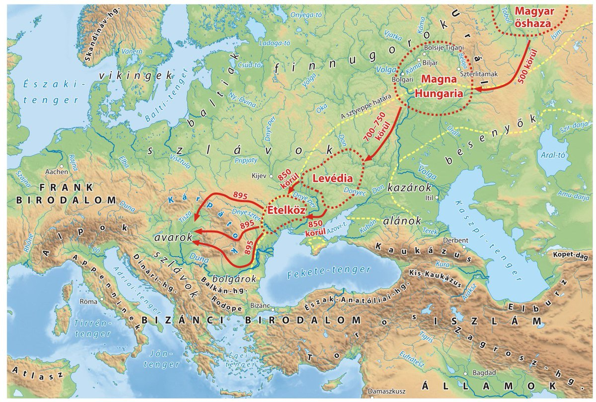 Onlmaps On Twitter Migration Of The Hungarian Tribes From The Ural Mountains To The Carpathian Basin Map Maps