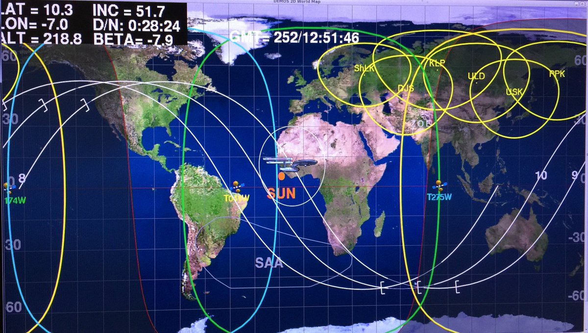 Intl space station on twitter in honor of startrek50 an intl space station on twitter in honor of startrek50 an enterprise icon is used to show where station is on the world map in mission control gumiabroncs Images