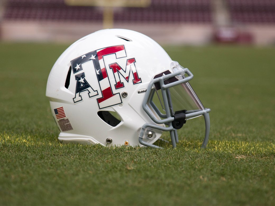 Saturday's @AggieFootball helmet remembering the 15th anniversary of 9/11 #12thMan https://t.co/MHmOL4lEYQ