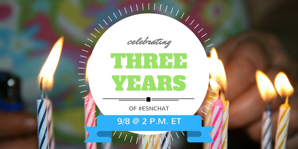30 minutes til #ESNChat! Today's topic: Your Top 3 #ESN ??? - Celebrating 3 Years of ESNchat https://t.co/MRKpb2wEdD