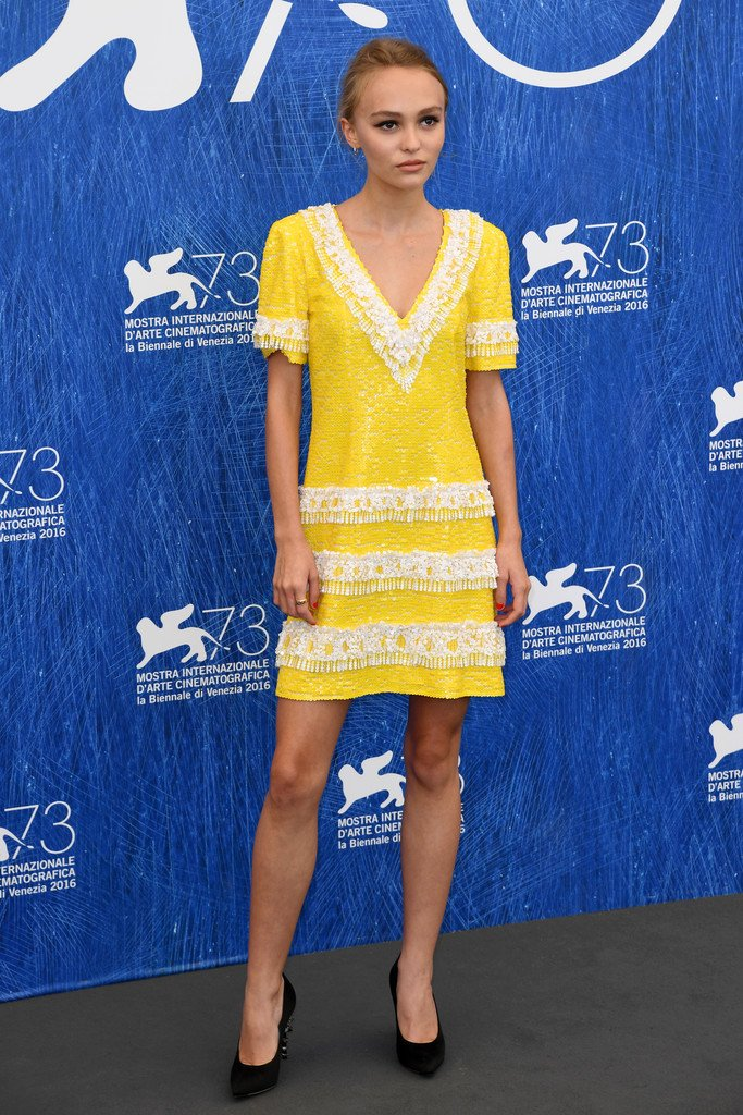 Lily Rose Depp Wore A Chanel Resort 2017 Embroidered Yellow Dress To The
