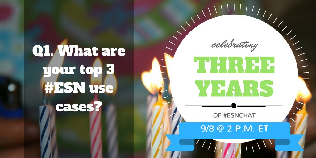 Q1. What are your top 3 #ESN use cases? #ESNchat https://t.co/v1aadpimU5