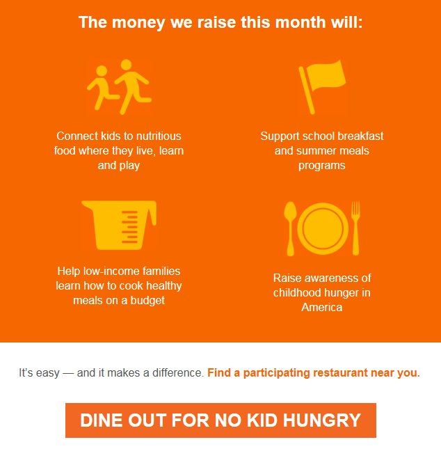 Dine out. Do good. You can help make #NoKidHungry a reality all Sept long https://t.co/1JAmaztyhf #HungerActionMonth https://t.co/89O8I9Hwby