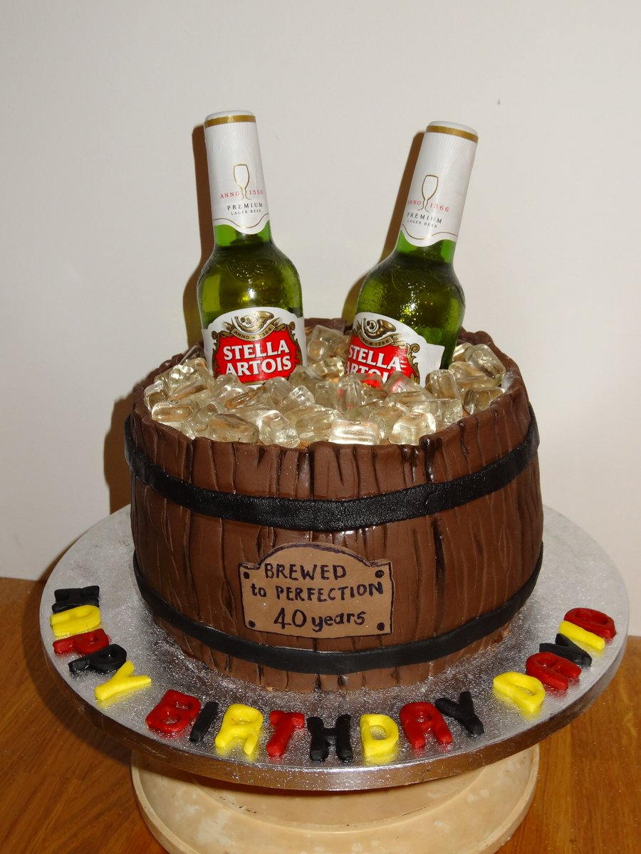 Cakes By Jewels On Twitter 40th Birthday Cake For A Belgian Beer Lover Stella Cakesbyjewels