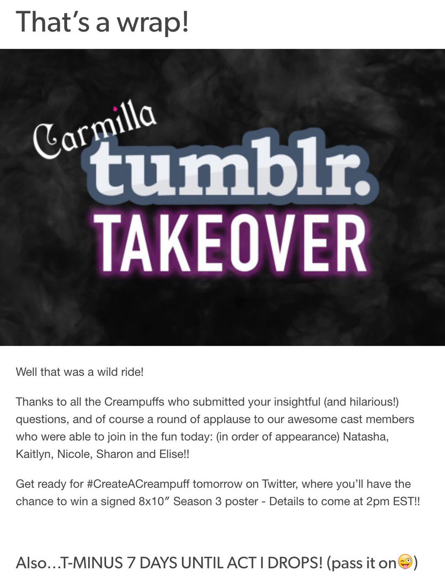 carmilla series on twitter thanks for participating in our first