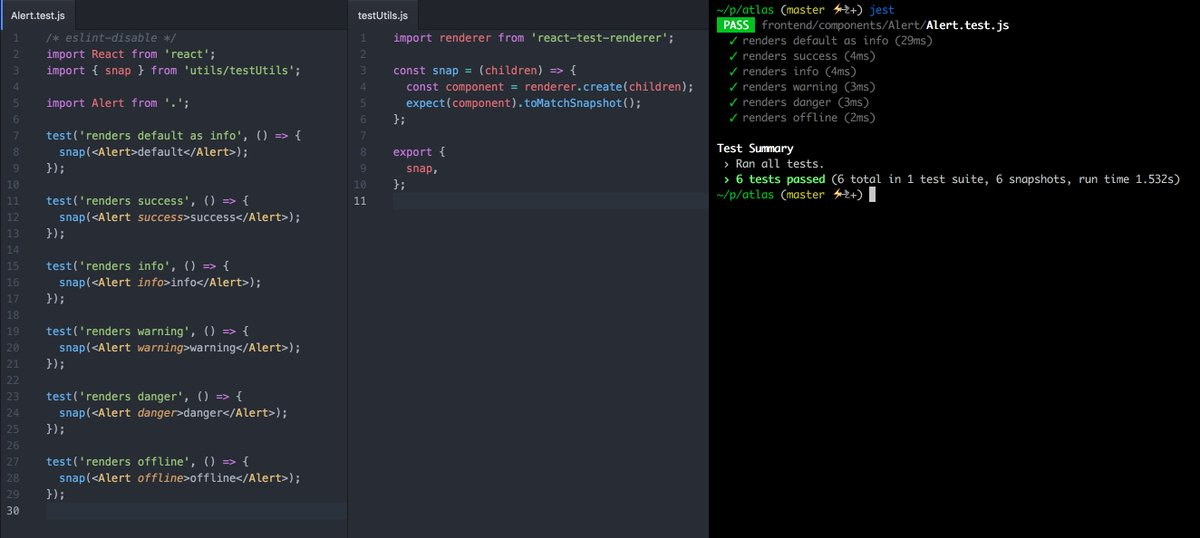 Fine-tuned Jest snapshot tests to minimal boilerplate. Less writing, more tests