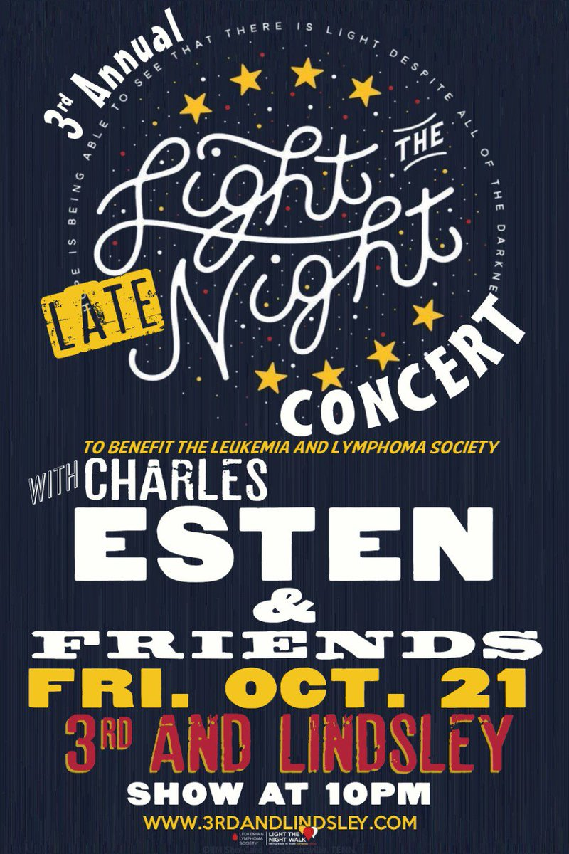 ON SALE NOW: 3rd Annual Light The Late Night w/ @CharlesEsten & Friends on 10/21! Get tix: https://t.co/Vbs9aJ5U7x https://t.co/rMK3ZGMM0y