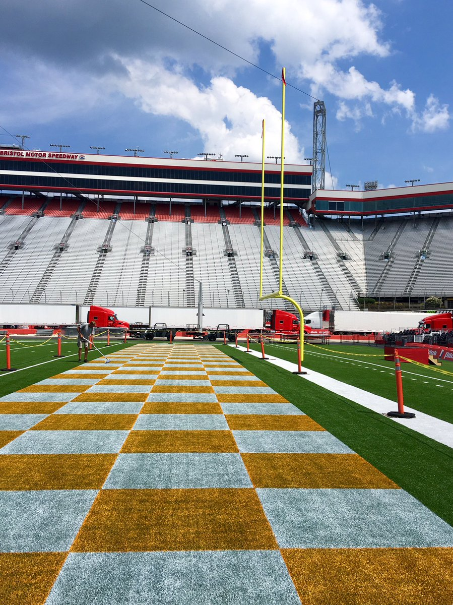 Bristol Motor Speedway: Trading the checkered flag for a checkered end zone.