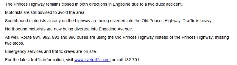 Update: princes highway remains closed in both directions at