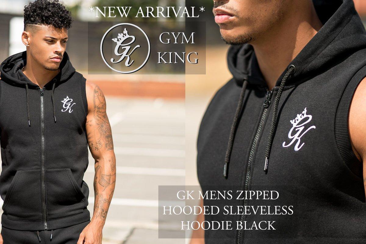 Mens Gym King Sleeveless Zipped Hoody In Black