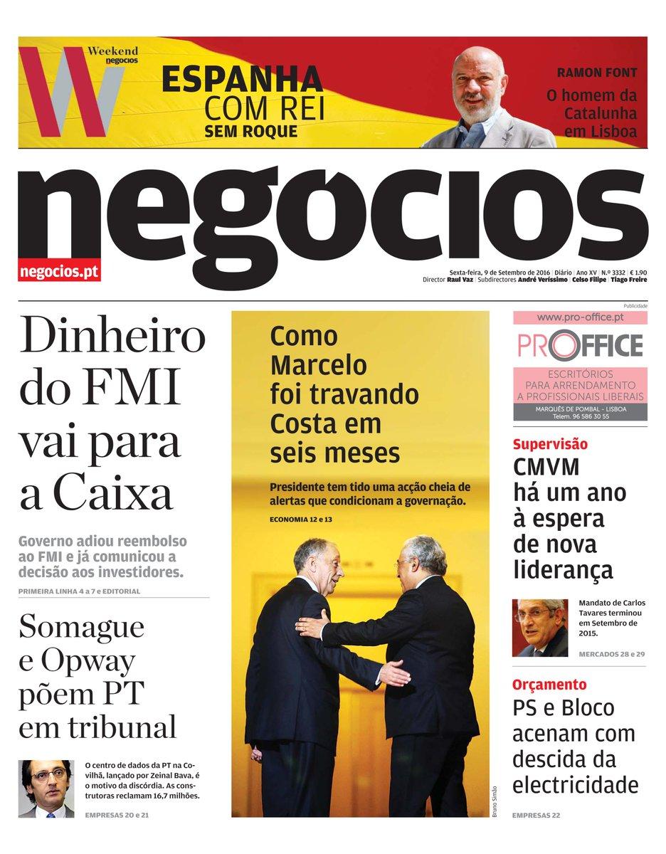 Veja a primeira página do #JNegocios #Capa #09Setembro