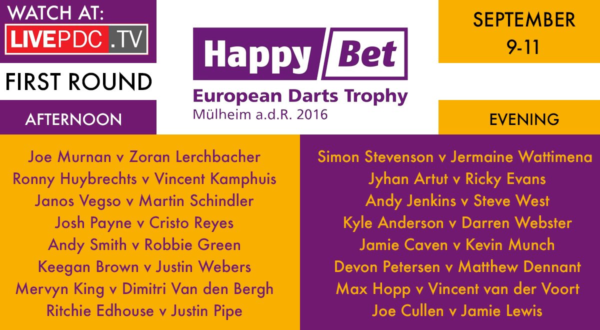 Make sure you tune in to the European Tour 8 in Mulheim with the HappyBet European Darts Trophy. Live from 12pm.