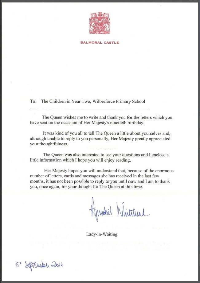 Wilberforce Primary On Twitter Today We Received A Letter From The