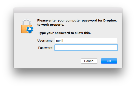 How Dropbox hacks your Mac (by faking what looks like an OS X authentication dialog): https://t.co/FsY6ZEYfxL https://t.co/ZdHMO2HXSB