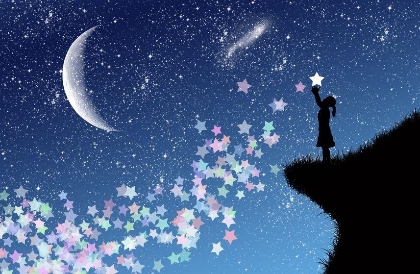 Открытка падающей звезды