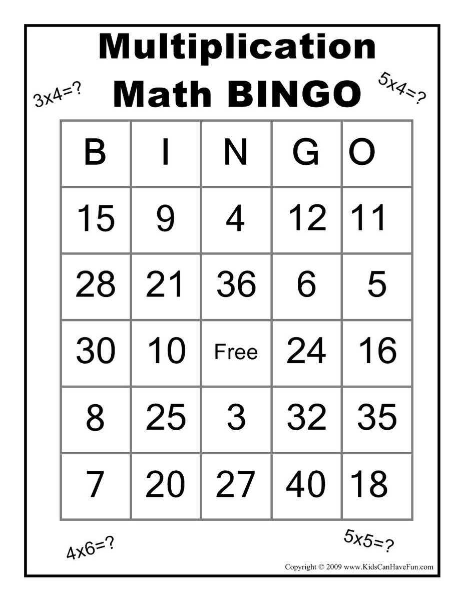 Exceptional image pertaining to math bingo printable