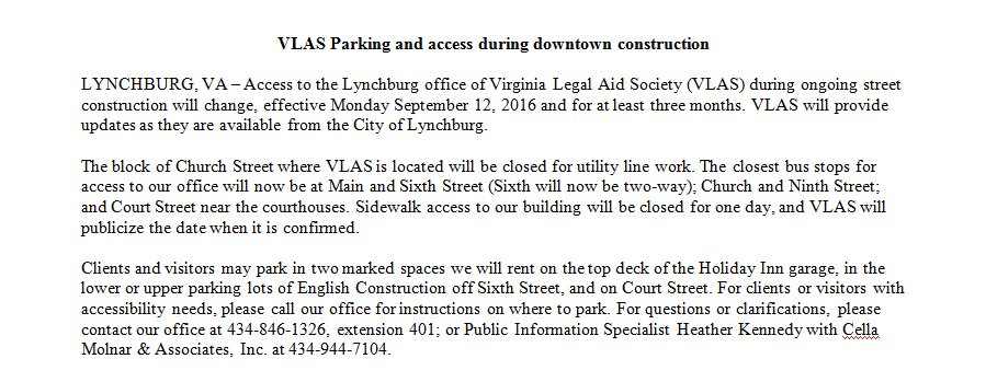 PSA to all visitors to our Lynchburg office beginning September 12, 2016. Updates to follow.