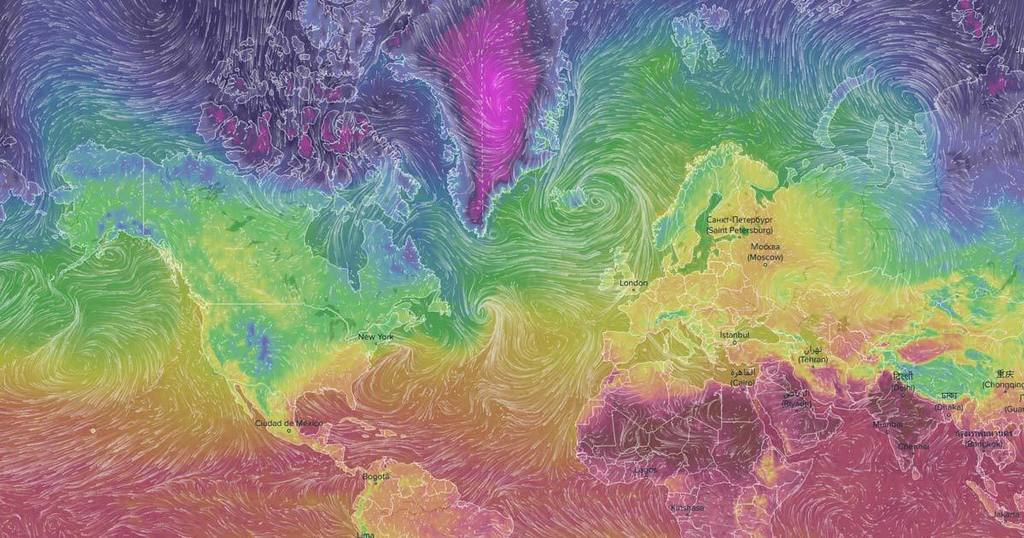 World Map Visualizing Weather in Real-Time • /r/dataisbeautiful