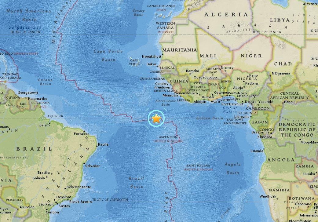 Magnitude 6.9 earthquake strikes south Atlantic Ocean; no damage expected