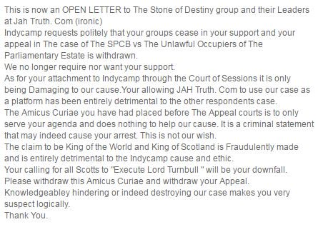 """RT @BBCPhilipSim: IndyCamp issue open letter to """"King of Scotland"""" saying """"we no longer require nor want your support"""" in court battle http…"""