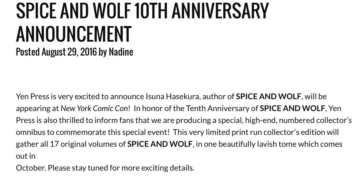 Yen Press On Twitter Attention All Spice And Wolf Fans Nycc